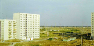 Widok z balkonu bloku Puszczyka 8 na Wiolinową i wielkie, puste pola w kierunku widocznego na horyzoncie Lasu Kabackiego. Fot. Andrzej Herfurt
