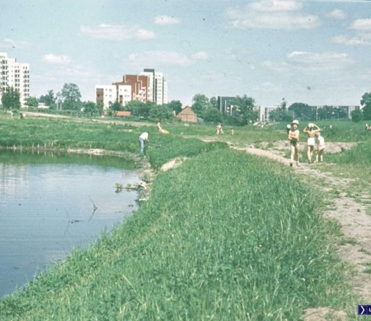 Letnia wycieczka na służewski brzeg Smródki. Bloki SnD w oryginalnych kolorowych elewacjach, a za stawem widoczne gospodarstwo przy Tarniny. Fot. Adam Myśliński