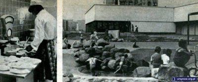 """Działająca jeszcze fontanna na Wiolinowej, a za nią Restauracja Ursynowska, którą widzimy także od kuchni. """"Stolica"""", sierpień 1982."""