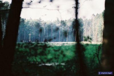 """Lato 1987, dwa miesiące po katastrofie samolotu """"Tadeusz Kościuszko"""". Drzewa na polanie spłonęły w pożarze maszyny. Zdjęcie z archiwum Piotra Klonowskiego."""