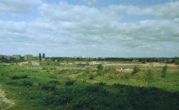 Widok z górki przy Rosoła na wschód. U podnóża, przed ulicą, mamy dzikie ogródki działkowe. Za ulicą rozciągają się tereny zaplecza budowy i wytwórni - mówiąc fachowo - mas bitumicznych. Fot. Andrzej Kubik