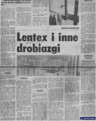 """Lentex odpada, tapeta namaka, transformator za ścianą potwornie wyje. Dzień jak co dzień jesienią 1977. """"Sztandar Młodych"""", 1.10.1077"""