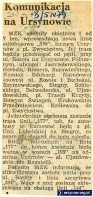 """Rusza nowa linia 195, o czym z radością zawiadamia """"Życie Warszawy"""" z 5 kwietnia 1979"""