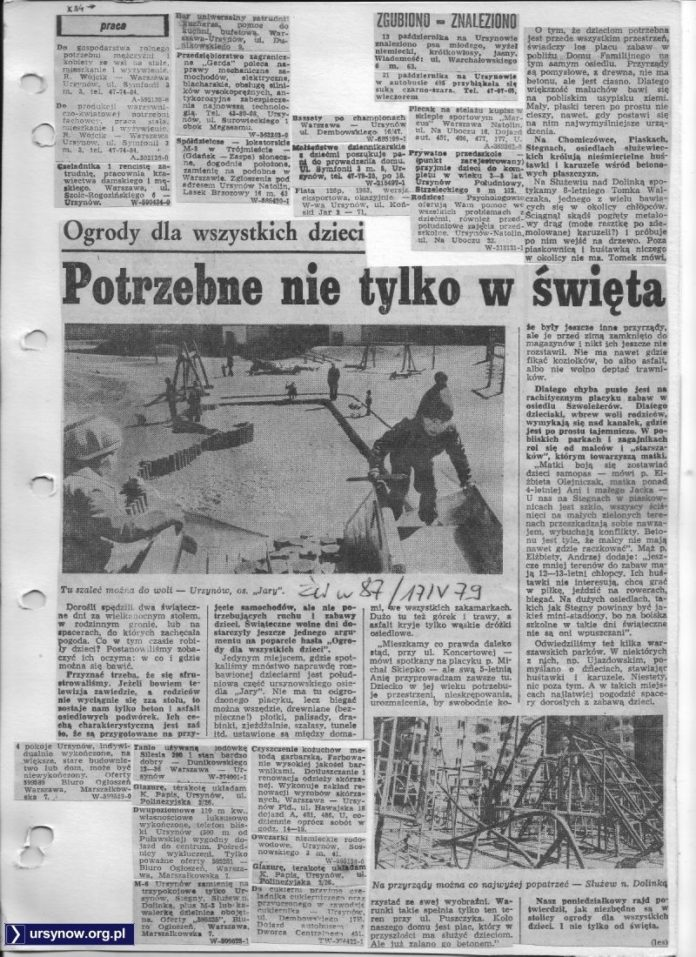 Życie Warszawy z wielkanocną wizytą na placu zabaw przy Puszczyka. 17.04.1979