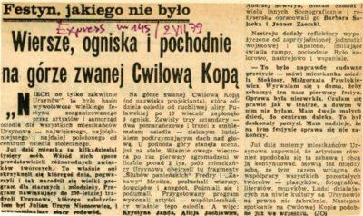 """""""Express Wieczorny"""" z lipca 1979 pierwszy raz pisze o """"Cwilowej Kopie""""."""
