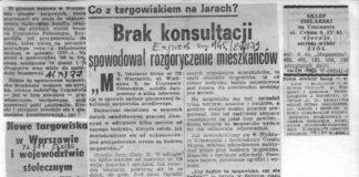 Nocny rajd koparki i nieoczekiwane rozpoczęcie robót przy budowie targowiska na Wiolinowej wzburzyło mieszkańców. Express Wieczorny, sierpień 1979.