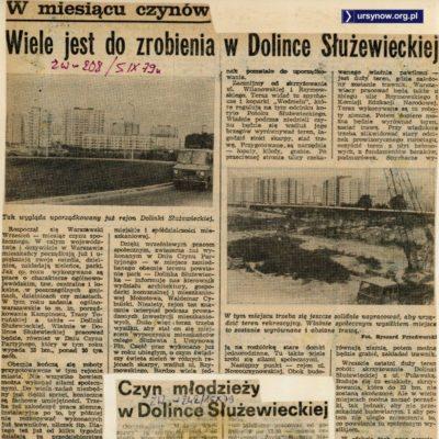 """Łopaty, kilofy i grabie w rękę - wszyscy idą sprzątać Dolinę Służewiecką. """"Życie Warszawy"""", 5.09.1979"""