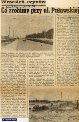 """W czynie społecznym obywatele mają posprzątać po budowlańcach budujących Puławską. """"Życie Warszawy:, 11.09.1979"""
