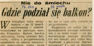Trybuna Ludu z 10 lipca 1980. Czytelnik pisze, że gdzieś mu się zgubił balkon.