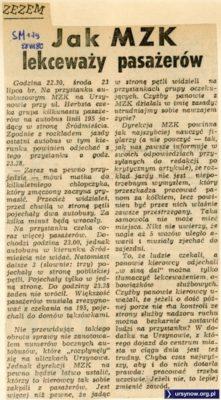 """Pasażerowie 195 skarżą się """"Sztandarowi Młodych"""" z 28 lipca 1980"""