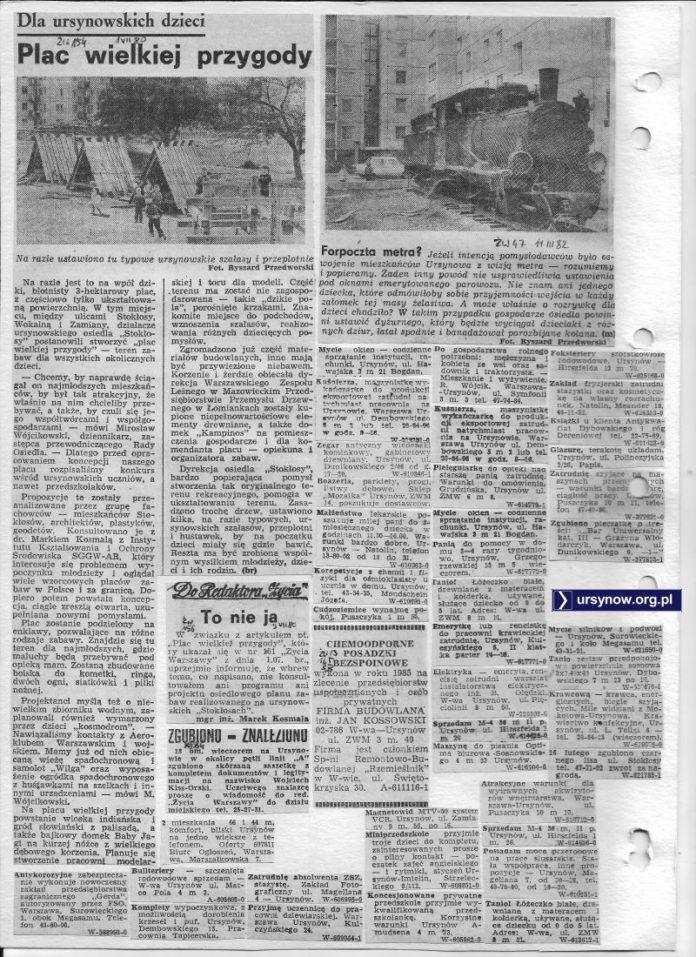Zapowiedzi i plany zamiany placu w Plac. Wielkiej Przygody. Życie Warszawy, 1.08.1980. W komplecie jeszcze artykuł o lokomotywie z serialu