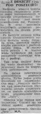 """Ostatnie piętro bloku przy Puszczyka 8, czyli z deszczu pod rynnę. """"Życie Warszawy"""", 27.08.1980"""