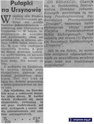 Niebezpieczny plac budowy domków jednorodzinnych przy Findera/Dunikowskiego. Trybuna Ludu, 23.11.1980