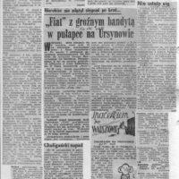 """Milicja łapie groźnego przestępcę i zatrzymuje go w stylu z Chicago. Zachodnimi wozami! """"Express Wieczorny"""" i """"Życie Warszawy"""" z 6 września 1980."""