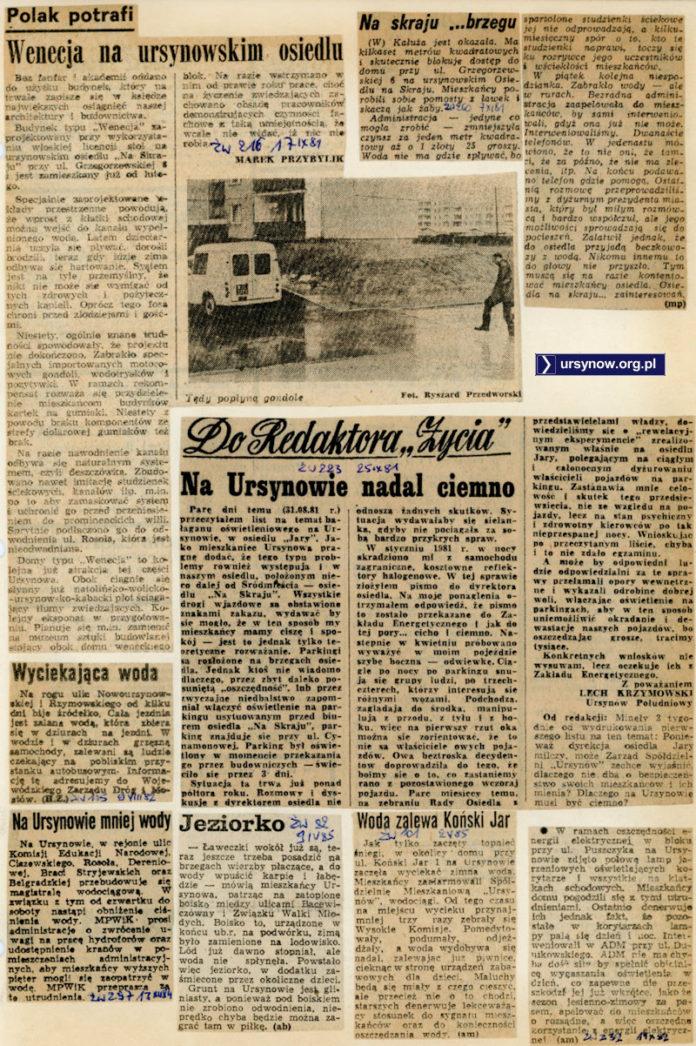 Przegląd doniesień o walce z wodą. 1981-85.