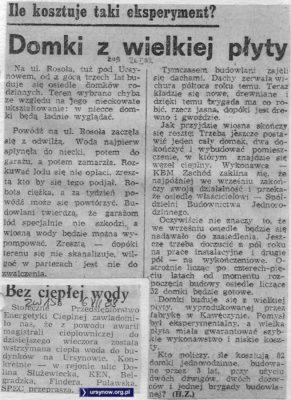 Budowa domków wielkopłytowych przy Rosoła stoi. Życie Warszawy, 26.01.1982