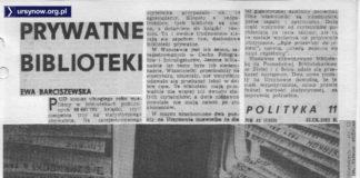 Ciekawostka: prywatna biblioteka. Rzadki przykład prywatnej działalności, która za komuny funkcjonowała a po jej upadku już nie. Polityka, 09.1982.