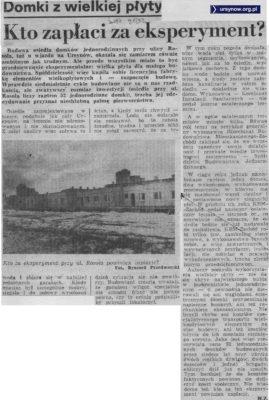 Kto zapłaci za nieudany eksperyment z wielkopłytowymi domkami - pyta Życie Warszawy, 21.01.1983