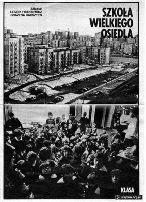 """Tygodnik """"Razem"""" z 29 kwietnia 1983 z wizytą w Szkole nr 303 na Koncertowej."""