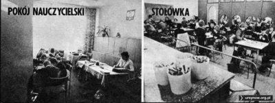 """Tygodnik """"Razem"""" z 29 kwietnia 1983 z wizytą w Szkole nr 303 na Koncertowej. Pokój Nauczycielski jako świetlica i lekcje w stołówce."""