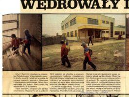 """Fotoreportaż z podróży autobusem Szkolnym do szkoły: u góry Imielin, Hawajska. U dołu: Ikarus oraz Grabów. """"Zwierciadło"""", 21.04.1983."""
