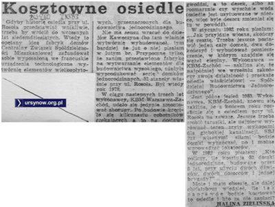 Pięć lat trwa budowa domków jednorodzinnych przy Elegijnej. Dramat opisuje Życie Warszawy, 2.11.1983