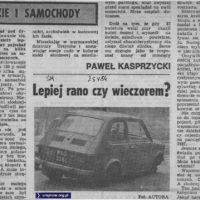 """Rozważania redaktora """"Sztandaru Młodych"""" z maja 1984: czy lepiej, jak malucha ukradną ci rano czy wieczorem?"""