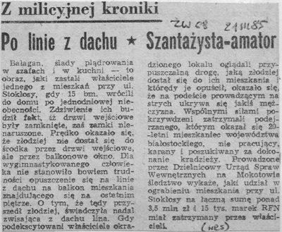 """Złodziej okrada mieszkanie na Stokłosy, ale mieszkańcy go łapią. """"Życie Warszawy"""", 21 marca 1985."""