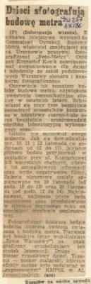 Foto Metro ogłasza konkurs. ŻW, 4.09.1986