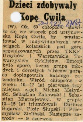 """""""Życie Warszawy"""" z 27.05.1987 o zawodach kolarskich na Kopie Cwila."""
