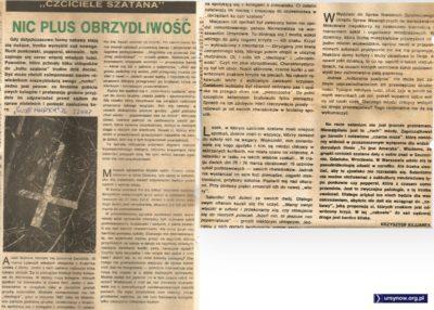 """""""Świat Młodych"""" demaskuje okrutne poczynania bandy ursynowskich samozwańczych satanistów. 27 czerwca 1987."""