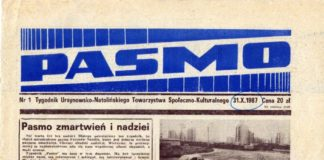 """Pierwsza strona pierwszego numeru tygodnika """"Pasmo"""", 31 października 1987 r."""