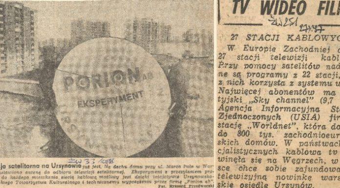 Życie Warszawy z października 1987 i lutego 1988 o początkach ursynowskiej telewizji kablowej.