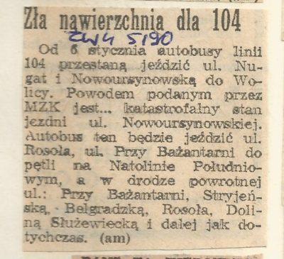 """""""Życie Warszawy"""", 5.01.1990. Autobus 104 po ponad 40 latach znika z Nowoursynowskiej."""