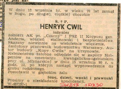 """Nekrolog po śmierci autora Kopy Cwila i ciekawe fakty z jego życiorysu. """"Życie Warszawy"""", 15.09.1990"""