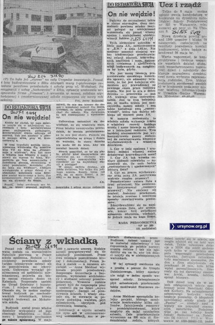Po tym, jak państwowe firmy nie dały rady, prywatna inicjatywa wykańcza szkołę na Wokalnej. W końcu mamy już oficjalnie kapitalizm. Życie Warszawy, wrzesień 1990.