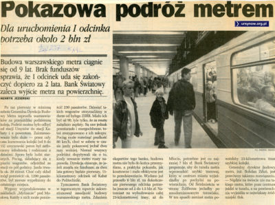 Pokazowa podróż metrem na trzy lata przed uruchomieniem.
