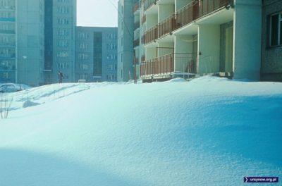 Świeży śnieg przed blokami u zbiegu Puszczyka i Pięciolinii. Fot. Włodzimierz Witaszewski.