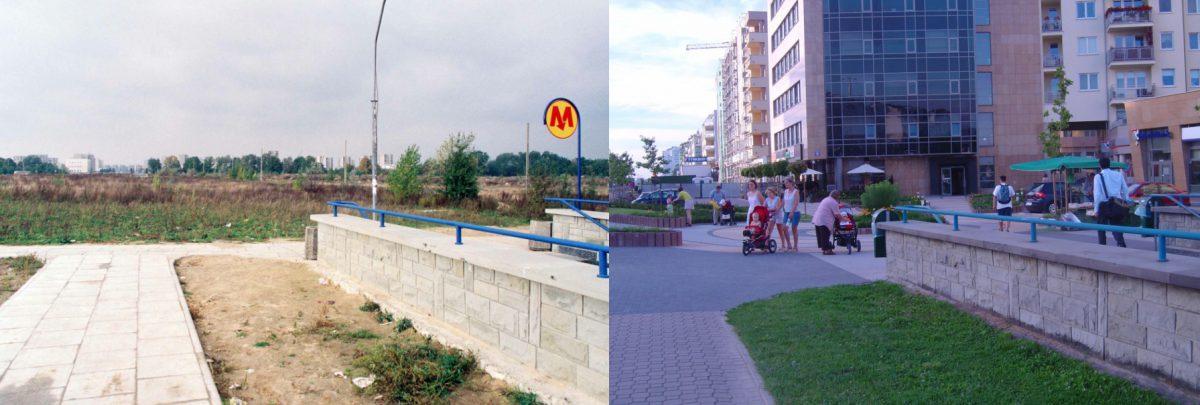 Północne wyjście ze stacji metra Kabaty. Po lewej - widok z 1995 roku, tuż po uruchomieniu metra. Drzewa w głębi to Aleja Kasztanowa. Po prawej - to samo miejsce w 2008 r.