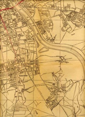 Plan Warszawy z 1946 roku. Widoczne linie wąskotorówek do Piaseczna i Konstancina. Źródło: www.trasbus.com