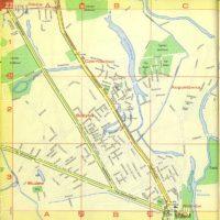 Cały zestaw ogrodniczych ulic w miejscu planowanych już Stegien. Plus tramwaj 36 na Sadybę i 2 oraz 14 do Wilanowa. Plan Warszawy PPWK, 1970