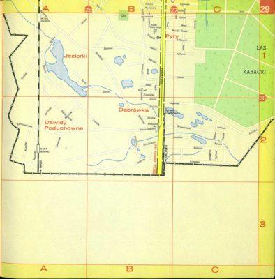 Zachodnia część dzisiejszego Ursynowa. Do Dąbrówki dociera jeszcze systematycznie likwidowana kolejka wąskotorowa. Plan Warszawy PPWK, 1970