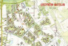 Pierwszy plan Ursynowa wydany przez PPWK. Poza linią budowanego metra i terenami rekreacyjnymi niedaleko Lasu Kabackiego, z grubsza odpowiada on nawet rzeczywistości.