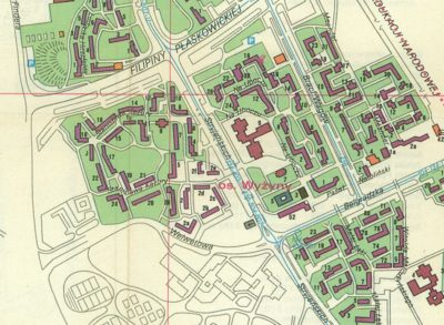 Fragment planu osiedli Ursynów-Natolin z 1990 roku. Osiedle Natolin-Wyżyny.