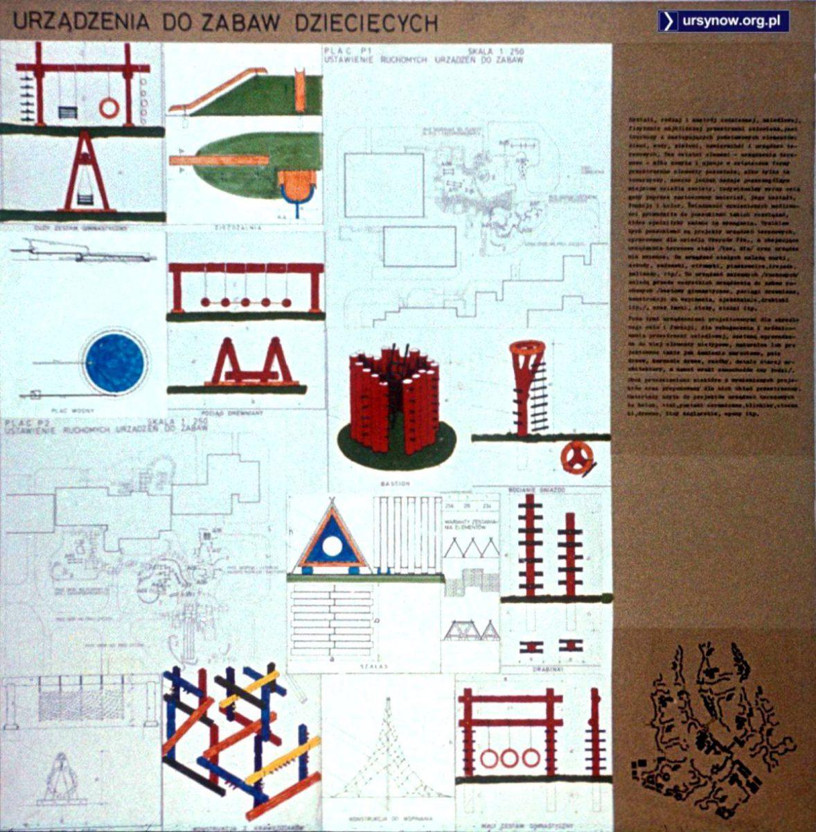 """Oryginalny ursynowski projekt drewnianych placów zabaw. Czy ktoś gdzieś widział zestaw """"Bastion"""" oraz trzy kółka podwieszone pod poprzeczką? Ze zbiorów Włodzimierza Witaszewskiego."""