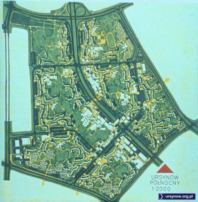 Mapa projektowanego osiedla tuż przed rozpoczęciem budowy. W kolorze wygląda to świetnie! Z archiwum Włodzimierza Witaszewskiego.