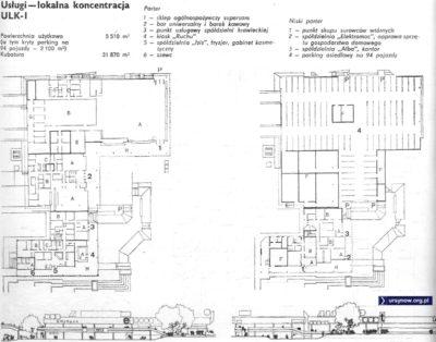 """Projekt pawilonu """"Lokalnej Koncentracji Usług"""". Miały powstać takie dwa - przy Zamiany i Cybisa. Zamiast nich w drugiej połowie lat '80 wybudowano jednak bloki z usługami w parterach. Źródło: """"Architektura"""", 1975."""
