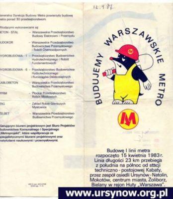 Folder rozdawany podczas zwiedzania metra w 1987 r.