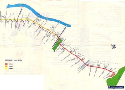 Trzy etapy budowy metra na ulotce z 1987 roku. W planach jest tu stacja pod Placem Konstytucji i na Muranowie.
