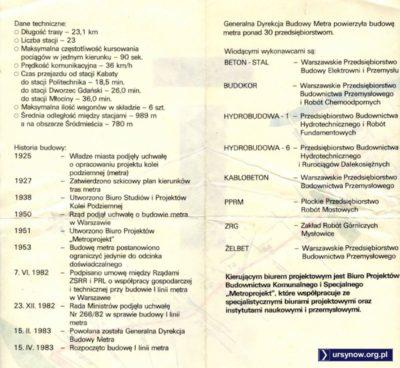 Krótkie kalendarium budowy i najważniejsi wykonawcy. Folder z 1987 roku.